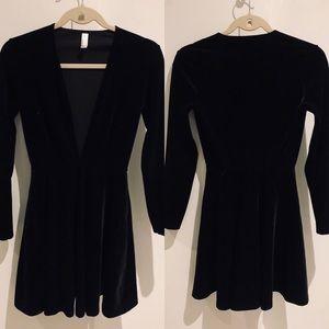 American Apparel Deep V Velvet Dress